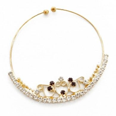 Women Wear Gold Tone Maroon CZ Nose Pin Ring Wedding Traditional Indian jewelry