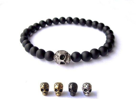 Men's Bracelet  - Black matte gemstone beads - silver plated Skull