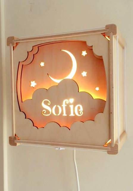 Lamp with name in the clouds от houtlokael на Etsy