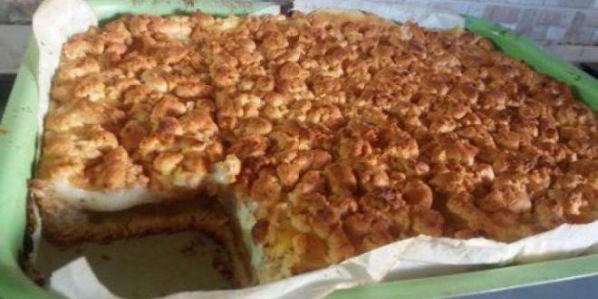 Περιγραφή Μπισκοτένια μηλόπιτα με πλούσια κρέμα βανίλιας. Τι χρειαζόμαστε: 250 γρ βούτυρο 200 γρ ζάχαρη 2 αυγά 600 γρ αλεύρι 3 βανίλιες 1...