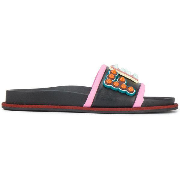Fendi studded logo leather slides ($600) ❤ liked on Polyvore featuring shoes, black, fendi shoes, leather mules, black leather shoes, black leather mules and leather mules shoes
