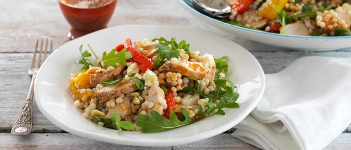 Israeli Couscous, Chicken and Feta Summer Salad