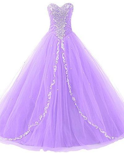 Ball Gown Prom Dress Quinceanera Dresses Ruffled Beaded Lilac Evening Gowns Princess Tulle Prom Dress With Rhinestones