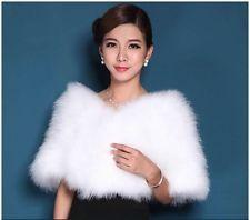 New Women's Real Ostrich Fur Bride Wedding Garment Cape Stole Wrap poncho