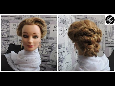 Hairstyle for long medium hair. Wedding prom updo.