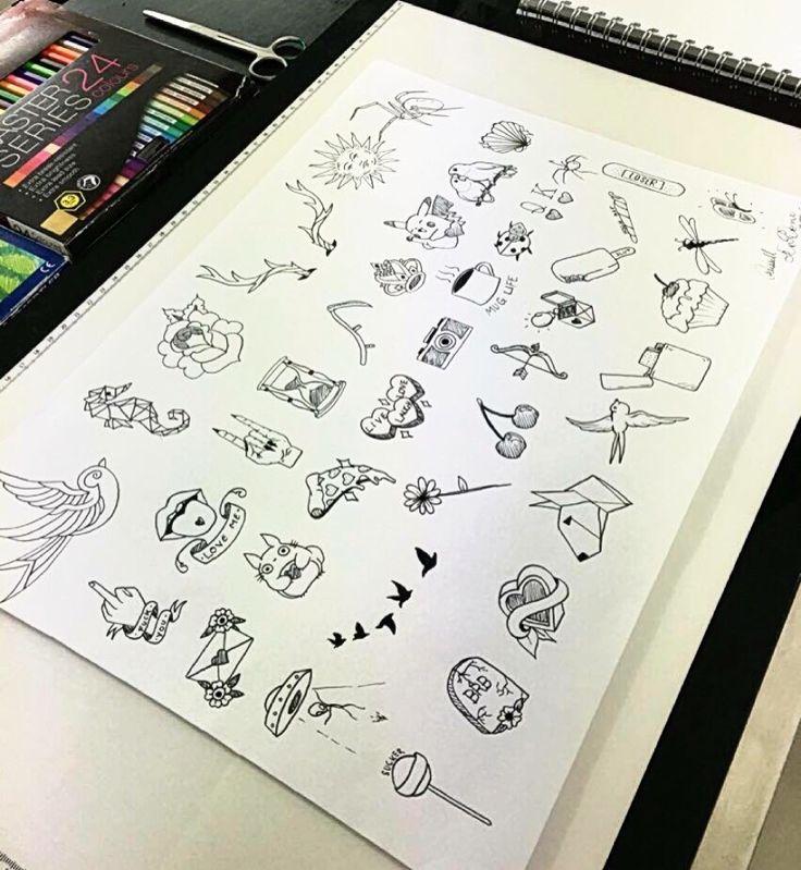 Small tattoo flash sheet