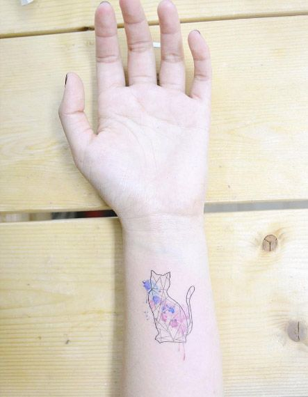 Geometric Watercolor Cat by Banul