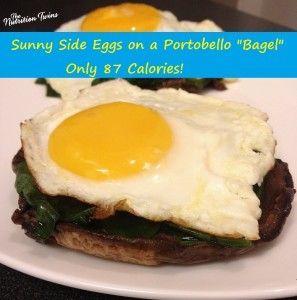 "Sunny Side Eggs on a Portobello ""Bagel"" - Nutrition Twins"