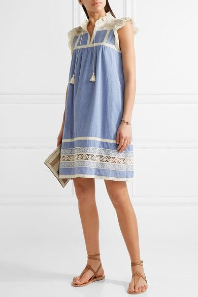 SEA - Ruffled Lace-trimmed Cotton-chambray Dress - Light blue