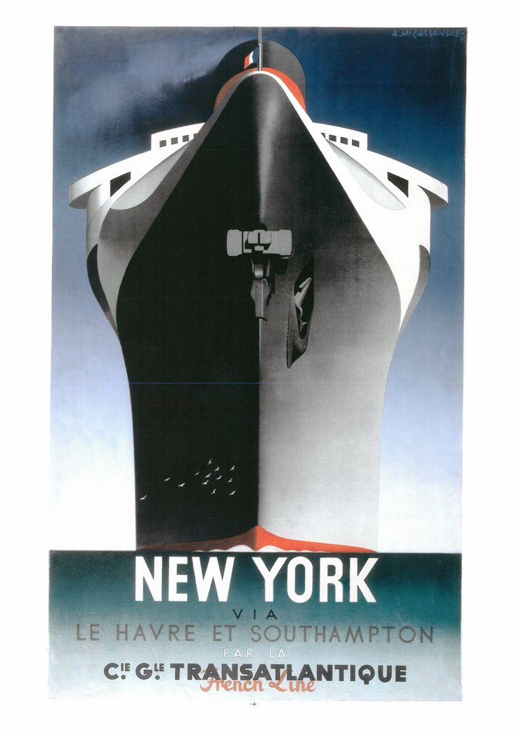 161. CASSAHDRE (ADOLPHE MOURON, 1901-1968) New York vio Le Havre el Southampton. French Line. Cie. Gle. Tronsotlanlique (Nuevo York vla Le Havre y Southampton. French Lino. Cie. Gle. Transatlantique), 1935