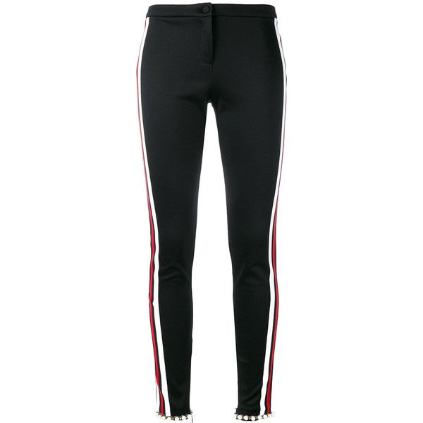 Gucci web-trimmed trousers (€1.170) ❤ liked on Polyvore featuring pants, gucci, bottoms, trousers, black, embellished pants, tailored trousers, skinny leg pants, striped trousers and skinny trousers