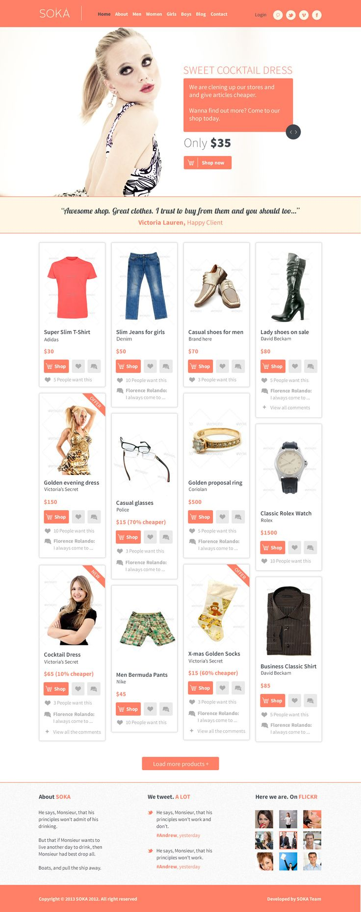 clean ecommerse web design