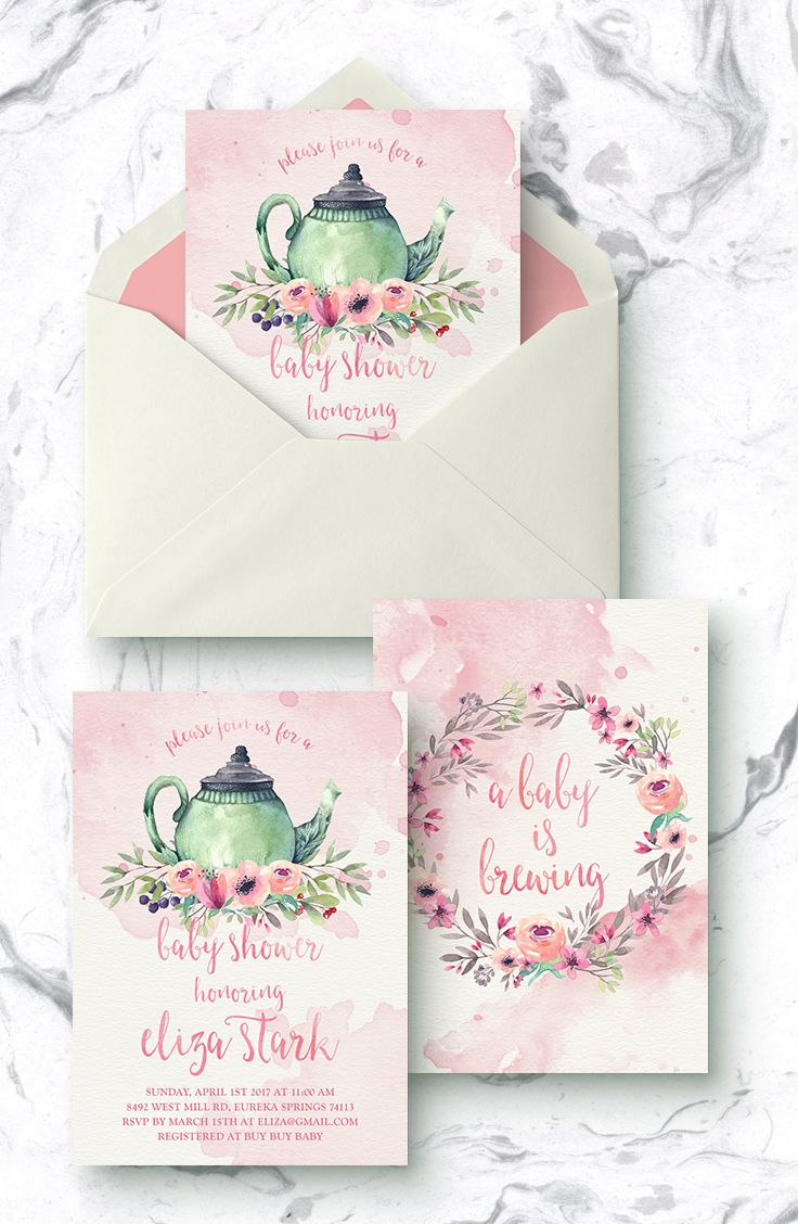 Pink tea party baby shower invites, floral baby is brewing invitations, tea for two, printable girl baby sprinkle invite, time for tea