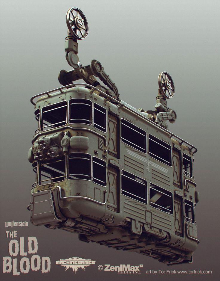 Wolfenstein: Old Blood Cablecar, Tor Frick on ArtStation at https://www.artstation.com/artwork/wolfenstein-old-blood-cablecar