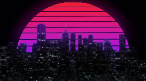 Download Retro Neon Cityscape Full Hd 2k Full High Resolution