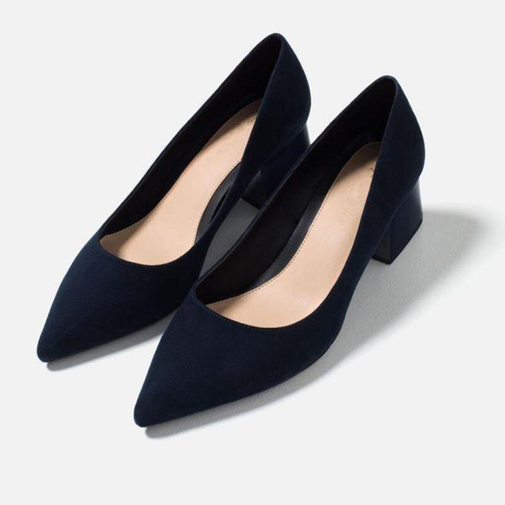{D&H}Concise Office high heel pumps Shoes Woman Dark Blue Square heel Pointed-Toe Pumps 2017 Low Heel Comfortable Women Heels