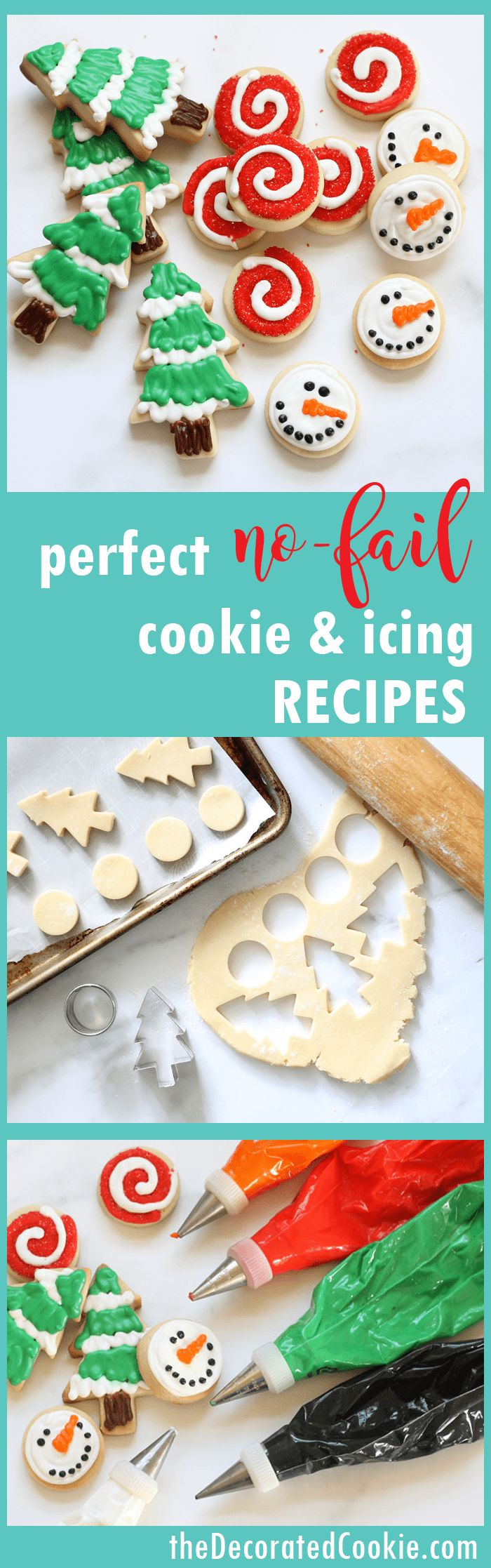 Make decorated Christmas cookies with these no-fail recipes for cut-out cookie dough and perfect royal icing. The recipes cut out and bake beautifully without changing shape, and the icing dries well enough for handling, freezing, and shipping, but it tastes delicious. VIDEO how-tos, PRINTABLE recipes. MAKE-AHEAD tips. HOW TO FREEZE cookies.