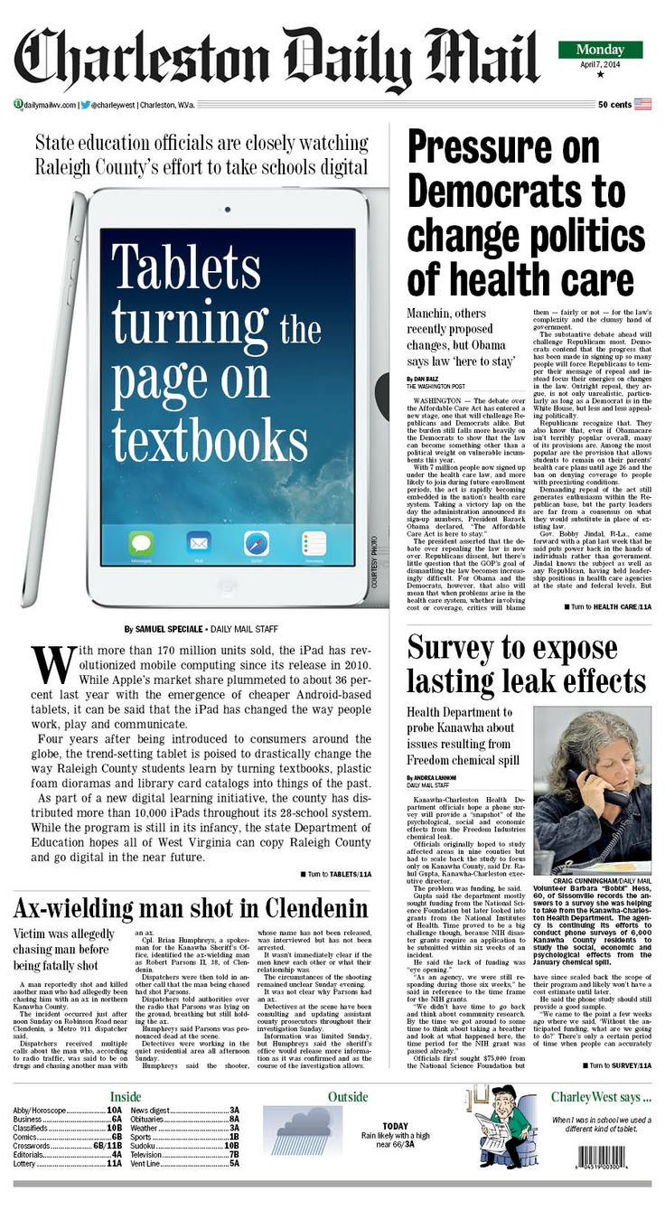 On Monday's front page, Raleigh County schools provide a tablet for each student to replace their textbooks. As part of a new digital learning initiative, the county has distributed more than 10,000 iPads throughout its 28-school system. While the program is still in its infancy, the state Department of Education hopes all of West Virginia can copy Raleigh County and go digital in the near future. Read more at http://charlestondailymail.com/article/20140406/DM01/140409481