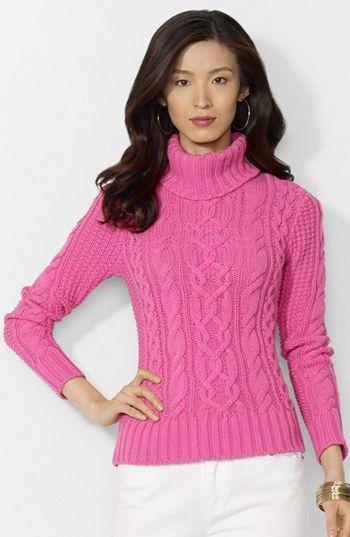 Lauren Ralph Lauren Cable Knit  Cotton Blend Turtleneck Sweater <3