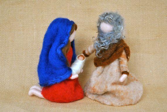 Weihnachten-Puppen-Nadel Filz: Krippe legen (Marie, Joseph und Jesus)