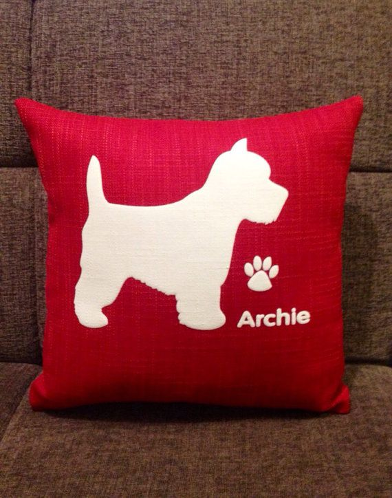 Personalised Westie Dog Cushion by ScatterDesigns on Etsy, $39.00
