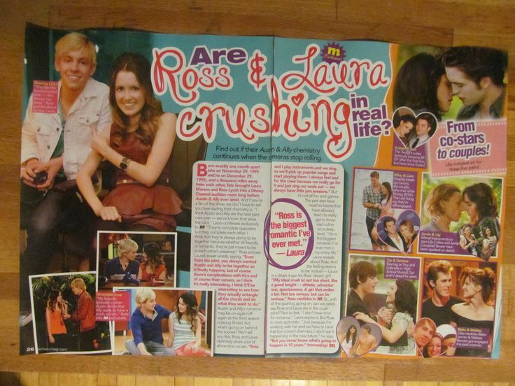 Ross Lynch and Laura Marano, Austin and Ally, Two Page Pinup Clipping