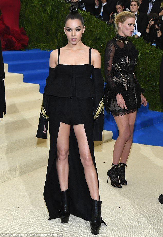 How high can you go? Hailee Steinfeld, in Vera Wang,  wore a pair of very short shorts to the Met Gala on Monday night