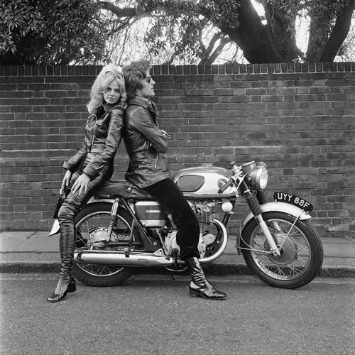 "Britt Ekland And Patrick Lichfield Motorcycle photograph by Terry O'Neill   British photographer Patrick Lichfield (1939 - 2005), the 5th Earl of Lichfield with Swedish actress Britt Ekland, circa 1970.  Limited Edition Silver Gelatin Signed and Numbered  16"" x 16"" / 20"" x 20""  24"" x 24"" / 30"" x 30""  40"" x 40"" / 48"" x 48"" / 60"" x 60"" / 72"" x 72""  For questions or prices please contact us at info@igifa.com     IGI FINE ART"