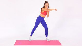 This 12-minute dance cardio workout will get you to burn calories and build strength in style. In this video, Katie Austin, daughter of famous fitness instructor Denise Austin, fuses traditional exercises like squats or bicep curls with easy-to-follow dance steps.