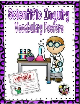 This set of colorful and inviting posters includes 20 common scientific inquiry words for use in your classroom.  Each poster largely displays one of the 20 words, contains a relevant image, has the definition of the word and a sentence correctly using the word as a science term.