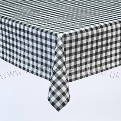 Black Gingham Vinyl Table Cover
