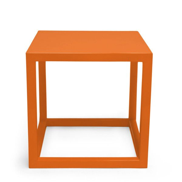 Orange Lacquer Cube Side Tables ($175) ❤ Liked On Polyvore Featuring Home,  Furniture