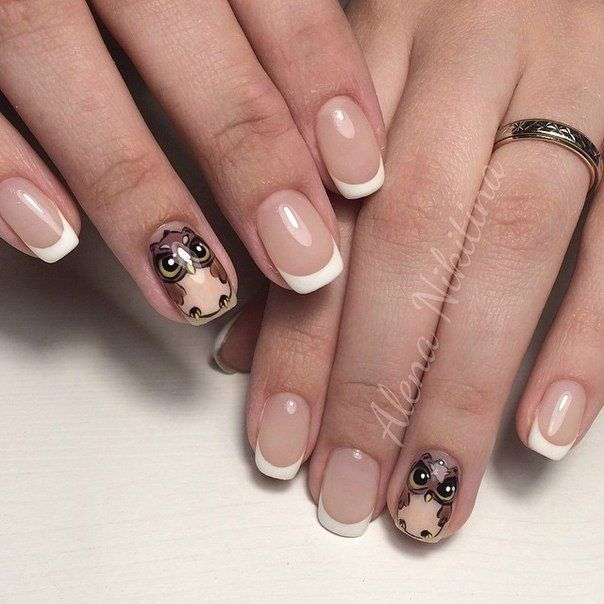 Accent on ring finger, Accurate nails, Beautiful nails 2016, French ideas 2016, French with painting, Long nails, Nails with stickers, Pictures on nails