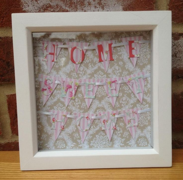 "Home Sweet Home Bunting picture.  Can be made in any colour.  Frame size 6x6"". Made to order. £14 + £4 p&p"