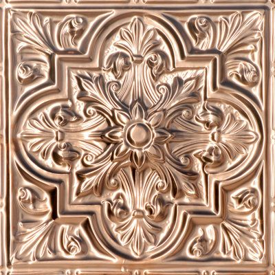 """Pattern 24"""""""" Reapeated Pattern Panel Depth 7/8"""""""" Size & Installation Info For Nail up - 24 3/8"""""""" Wide x 24 3/8"""""""" For Drop in - 23 7/8"""""""" Wide x 23 7/8"""""""" Installation instructions link  Facts Copper N"""