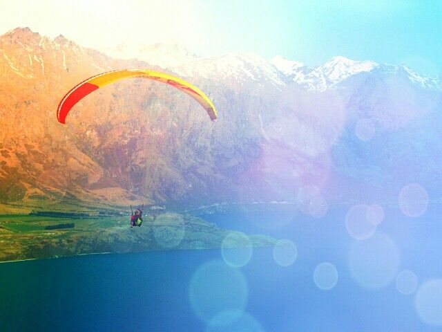 Paragliders in Queenstown! Editted on Pixlr