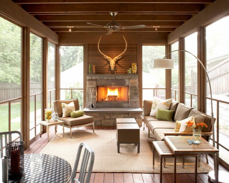 23 best images about fireplaces for back porches for Wood burning stove for screened porch