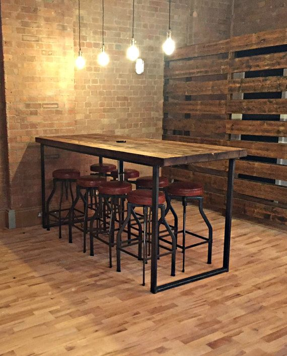 Reclaimed Industrial 8 Seater Chic Tall Poseur Table.Wood & Metal Desk/ Dining Table Bar cafe Resturant Tables Steel Metal Hand Made Bespoke