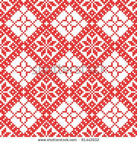 seamless embroidered good like handmade cross-stitch ethnic Ukraine pattern by mycola, via ShutterStock