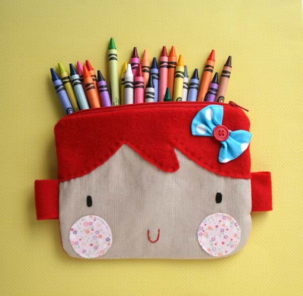 What a great idea!!!  I'll have to try and make one of these for Lulu!!!    Red hair  sweet face zipper pouch. $19.00, via Etsy.