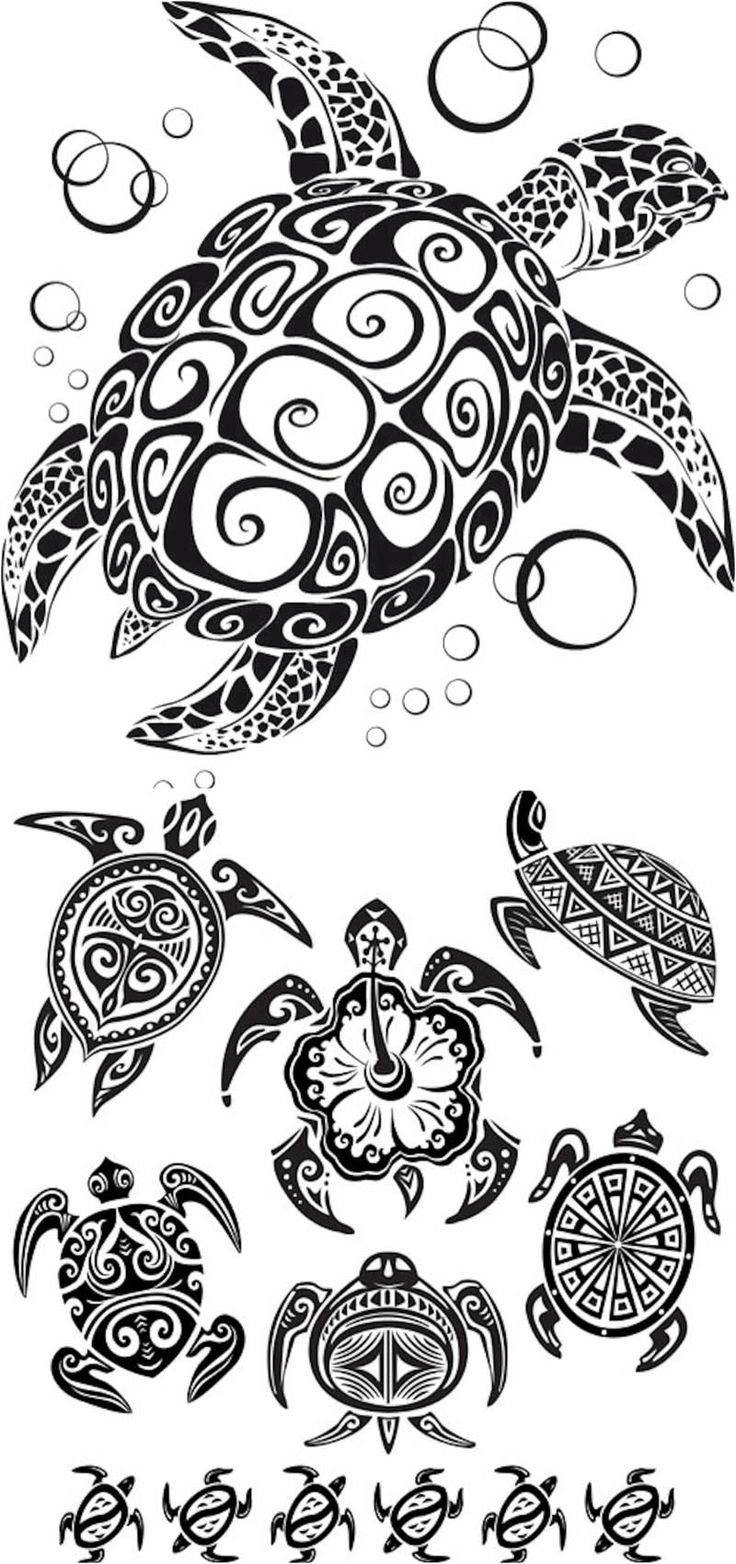 Turtle tattoos vector