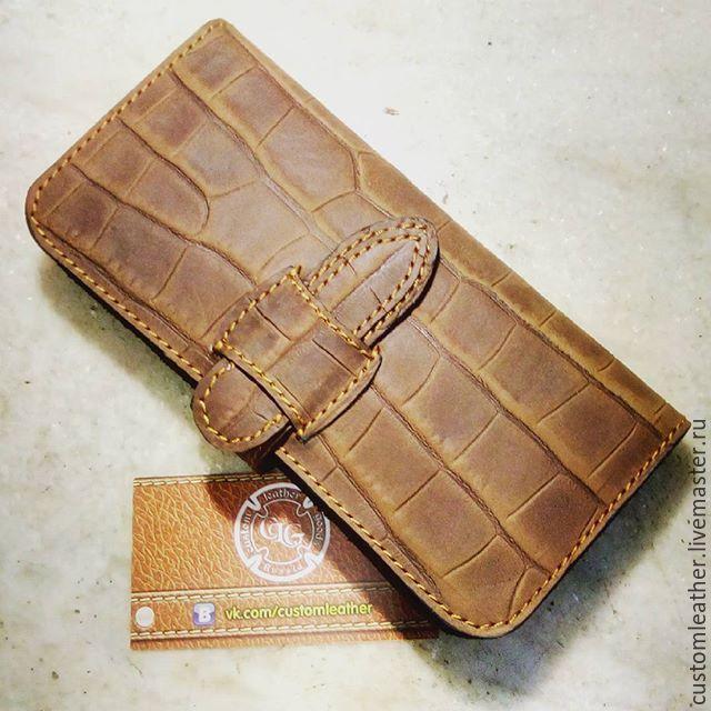 Купить Бумажник - чехол для телефона - рисунок, коричневый, кошелек, портмоне, бумажник, крокодил, текстура