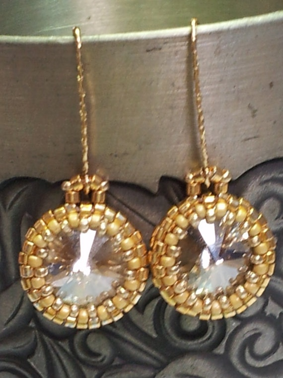 Grey Swarovski crystal earrings with gold wires by SandyYuDesign, $40.00