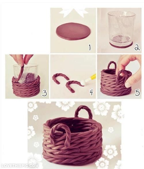 DIY Clay Basket Cute Decor Creative Diy Craft Handmade Ideas Crafts Do It Yourself