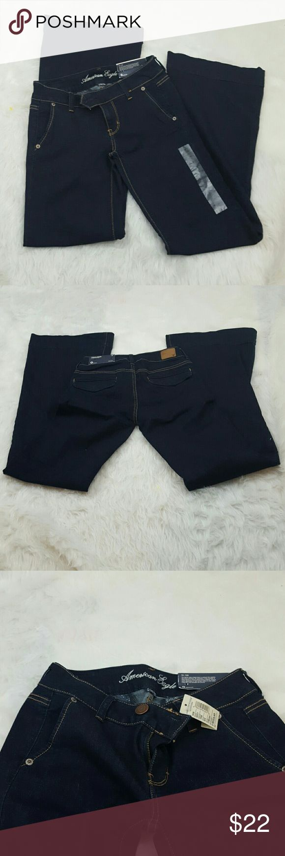 NWT American Eagle Dark Wash Trousers size 0 Size 0 American Eagle stretch  trousers new with tags.  26x31. American Eagle Outfitters Jeans Flare & Wide Leg