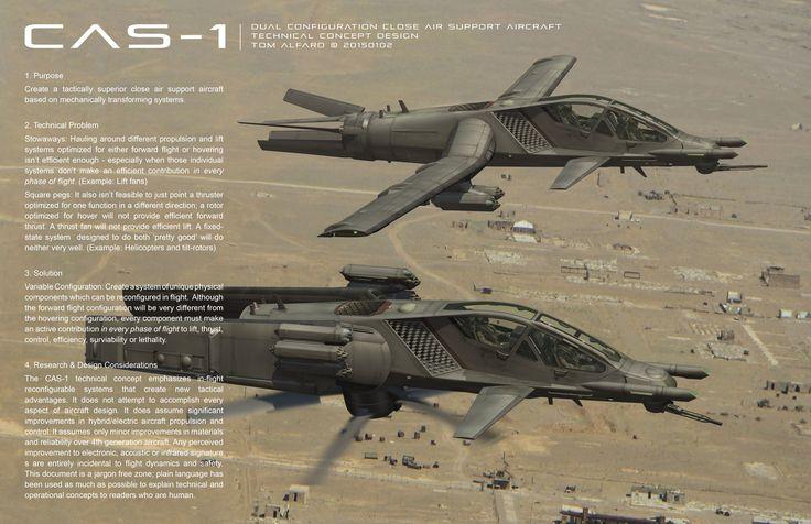 CAS-1 Close Air Support Concept Aircraft, Tom Alfaro on ArtStation at https://www.artstation.com/artwork/qe0yy