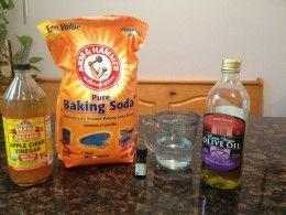 Ingredients for baking soda DIY shampoo.
