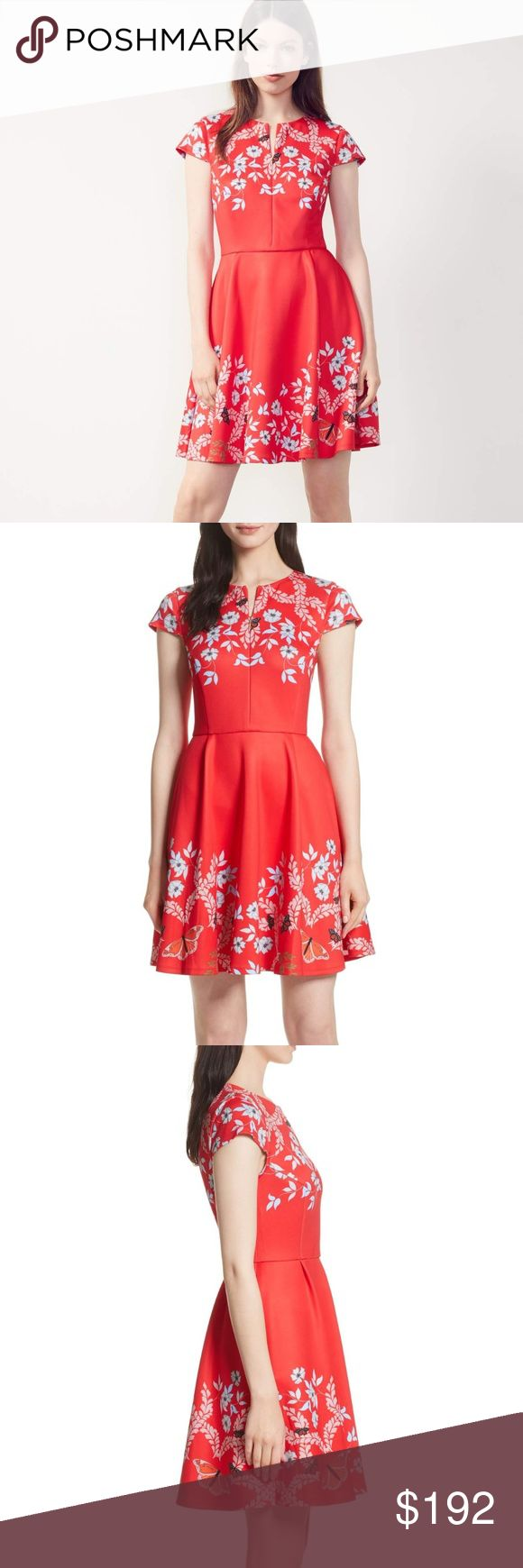 """Ted Baker Saydi Kyoto Floral Skater Dress NWT Ted Baker London Bright Red Saydi Kyoto Floral Skater Size 1 (US 4) Bust 33"""" Waist 26"""" UPC: 5054787611046 Sleeve Style:Cap Sleeve Size Type:Regular Pattern:Floral Size (Women's):4 Country/Region of Manufacture:China Material:Polyester blend Style:Fit & Flare, Skater Dress Occasion:Casual Color: Bright Red Dress Length:Short Ted Baker Dresses"""