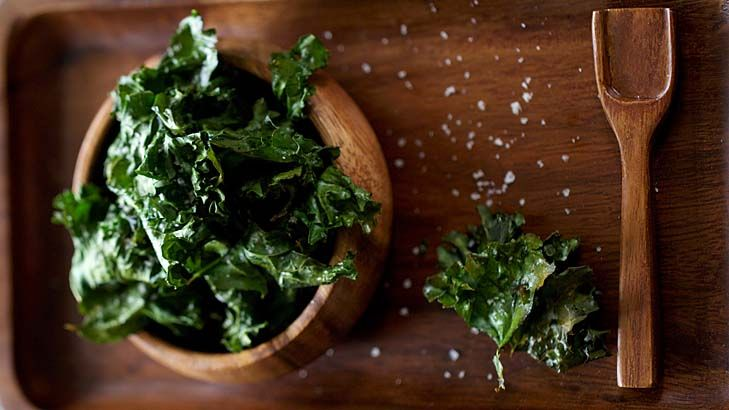 Jill Dupleix's kale chips.  You need amazingly little olive oil, so they come almost guilt-free. Add grated parmesan, black pepper or Japanese chilli sprinkles.