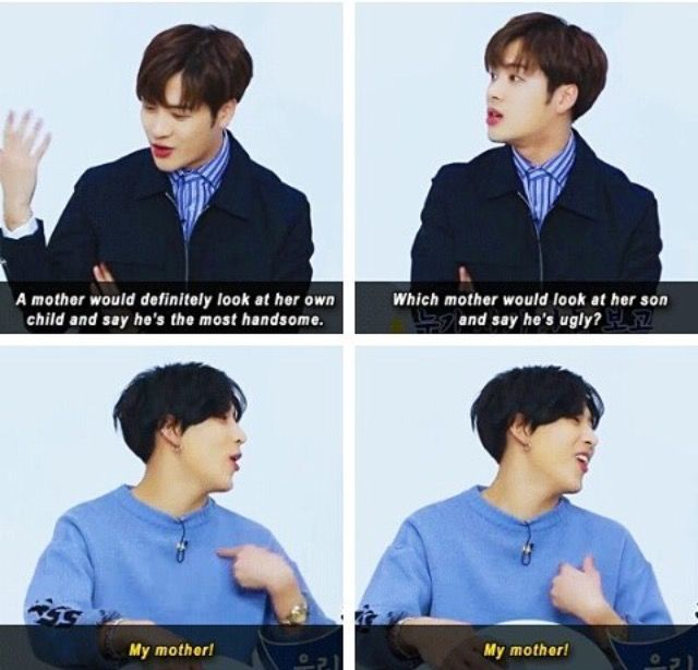 I een believe she does and after that goes to jb and tells him that he is handsome ahahhhahhahahha ...omg i REALLY love bams mom ahhahahah   (btw i  believe him coz my moms the same tho )
